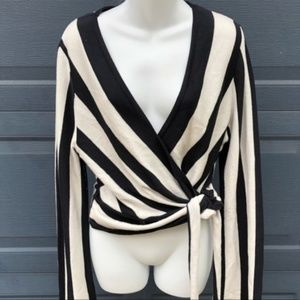 Topshop | Black & White Stripe Wrap Sweater